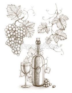 Drawn grape leave
