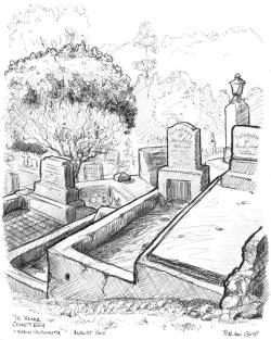 Drawn headstone graveyard