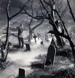 Drawn graveyard creepy