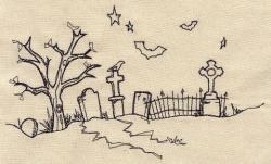 Drawn graveyard doodle