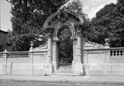 Drawn countyside cemetery gate