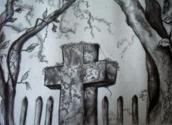 Drawn graveyard pencil drawing