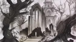 Drawn cenetery pencil drawing