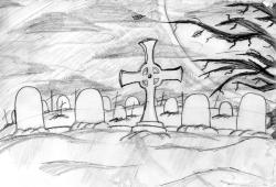 Drawn graveyard sketch