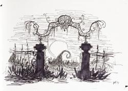 Drawn graveyard tim burton