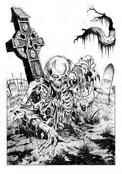 Drawn tombstone horror