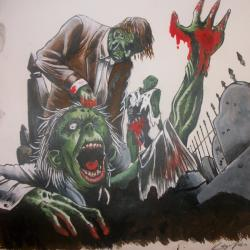Drawn graveyard zombie