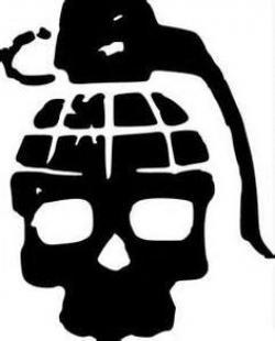 Drawn grenade skull