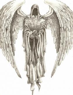 Drawn scythe angel