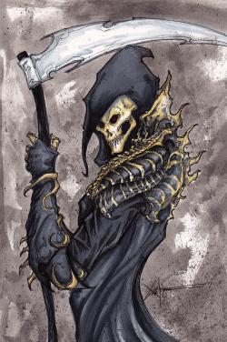 Drawn grim reaper armored