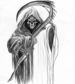 Drawn grim reaper ballpoint pen