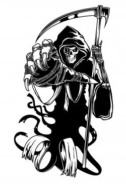 Drawn grim reaper black and white