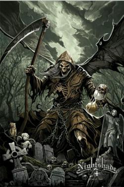 Drawn grim reaper dark