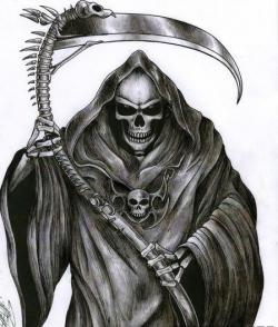 Drawn grim reaper demon