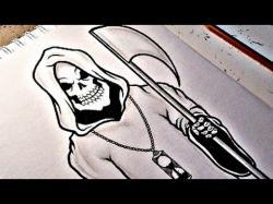 Drawn grim reaper hand sketch