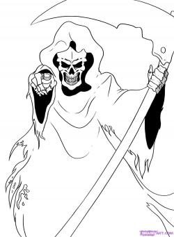 Drawn grim reaper line drawing