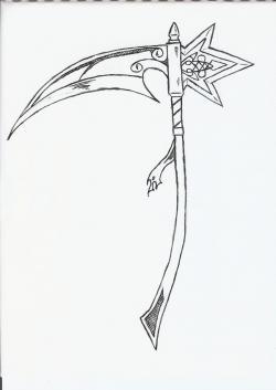 Drawn grim reaper scythe
