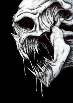 Drawn grim reaper skull