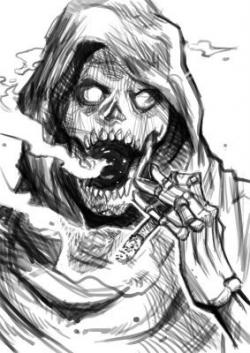 Drawn grim reaper smoke