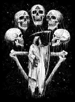 Drawn grim reaper trippy