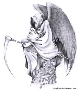 Drawn grim reaper wing sketch