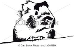 Guinea Pig Clipart Black And White