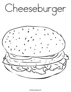 Drawn hamburger coloring page