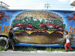 Drawn hamburger graffiti