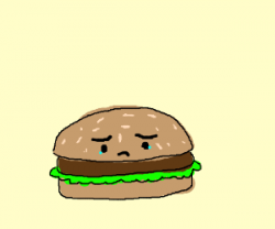Drawn hamburger sad