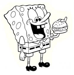 Drawn hamburger spongebob
