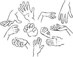 Drawn finger hand poses