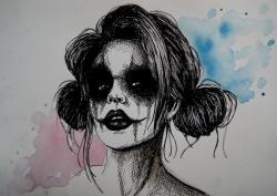 Drawn harley quinn watercolor