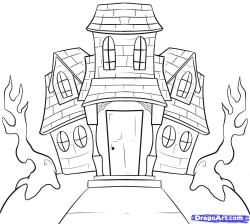 Drawn haunted house