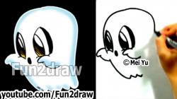 Drawn ghostly cute cartoon