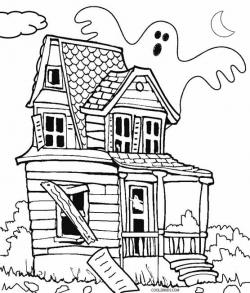 Drawn haunted house geometric