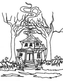 Drawn haunted house ghostly