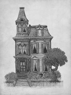 Drawn haunted house gothic