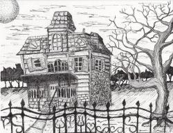 Drawn haunted house pen and ink