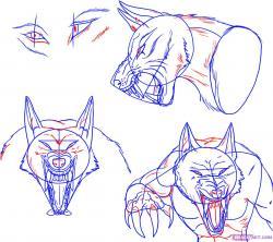 Drawn wolfman head