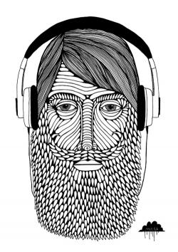 Drawn man hipster beard