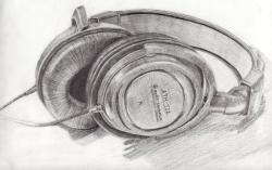 Drawn headphones pencil drawing