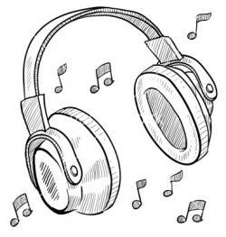 Drawn headphones doodle