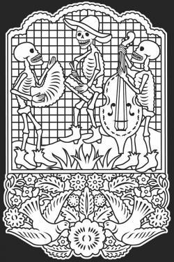 Drawn tombstone dia de los muertos