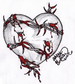 Drawn hearts barbed wire