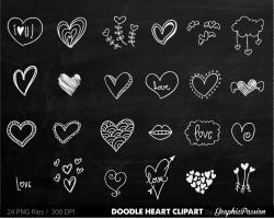 Drawn hearts chalkboard