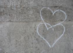 Drawn heart concrete