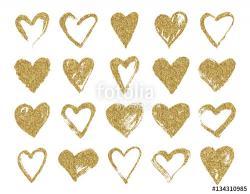 Drawn hearts glitter