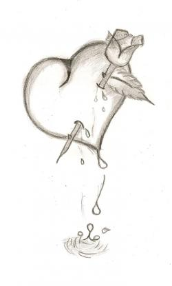 Drawn hearts pencil art