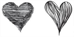 Drawn hearts black and white