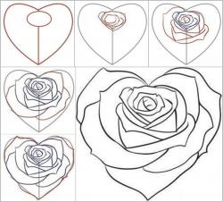 Drawn hearts step by step